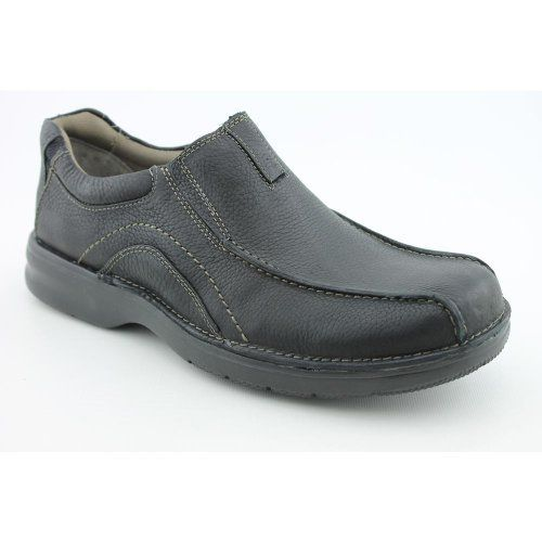 Clarks Men's Pickett Slip-On Clarks. $53.11. rubber sole. r, stretch goring in the upper for a flexible fit and EVA foam cushioned insoles. um leathers and cement construction, this slip on loafer is instantly comfortabl. e ! bicycle-toe detailed stitching Comfort features include a plush paddedcolla. leather. Additional padding in the heel helps to absorb shock Flexible traction outsole. Men's Clarks, Pickett A soft leather casual slip on style Constructed with premi