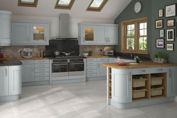 Malton Painted Cornflower Blue Kitchens - Buy Malton Painted Cornflower Blue Kitchen Units at Trade Prices