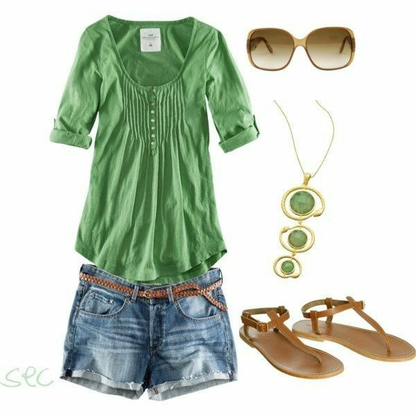 cute top and color, shorts color, may need longer. prefer non thong sandals