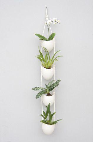 Spora : 4-Tier Ceramic + Cotton Rope Planter - Light + Ladder