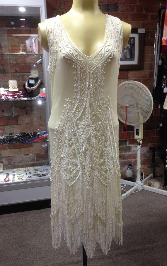 1920s Charleston Style Creamfler Dress