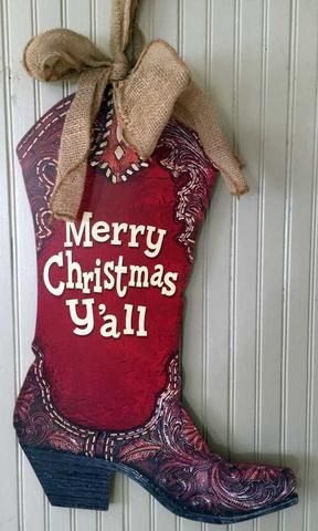 Merry Christmas Ya'll cowboy country western boot wall hanging cute for for home,office or party -North Pole West