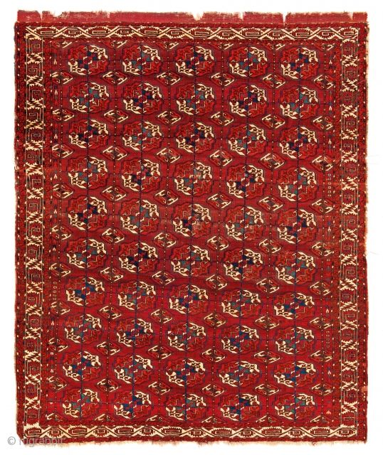Fine Antique Oriental Rugs VI, The Azadi collection, Lot 11,Tekke main carpet Turkmenistan, ca. 1800, 7ft. 4 in. x 6ft. 2 in., Condition: Good, pile low in places, sides and upper end incomplete, ...