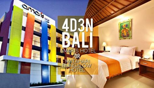Bali: 4D3N Choice of Amaris Hotel or Matahari Bungalow Hotel with Daily Breakfast + 2 Way Flight via Jetstar Airways + 2 Way Airport Transfer. Min 2 To Go - iLoveDeals Singapore