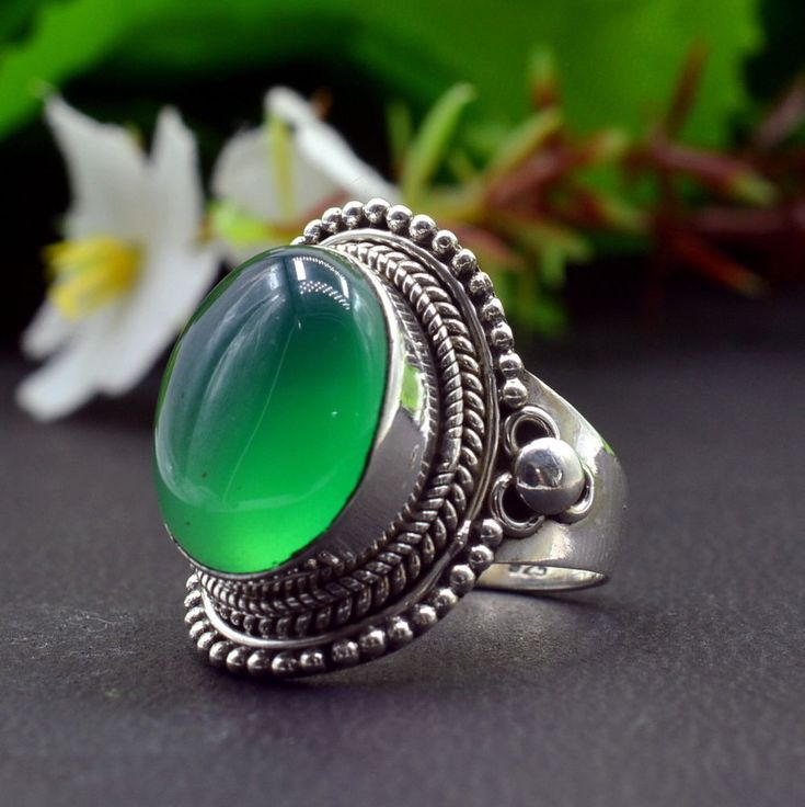 925 Solid Sterling Silver Green Onyx Gemstone Handmade Mens Ring Size 7.75 R848 #Handmade #Cluster #Party