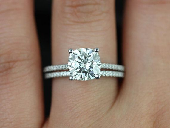 Rosados Box Marcelle 8mm 14kt White Gold Cushion F1 Moissanite And Diamond Cathedral Wedding Set Pinterest Cushions Cathedrals