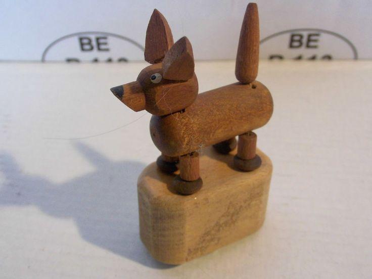 WAKOUWA Push Puppet Toy bois Ovalisé Vintage Collector.