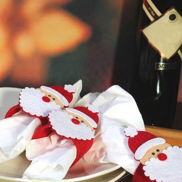12pcs /lot Christmas Decorations Santa Napkin Ring Table Decor Napkin Holder for Christmsa Hotel Napkin holder Table decoration