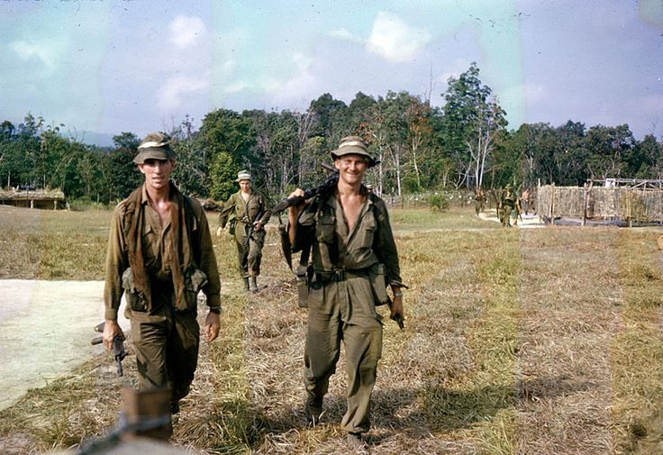 Australian soldiers emerging from the jungle after a patrol in North Borneo in 1965. The men are members of the 3rd Battalion, the Royal Australian Regiment (3 RAR), the first Australian battalion to be directly involved in the Indonesian Confrontation. They are returning to a base at Stass, close to the border between Sarawak and Indonesian-controlled Kalimantan.