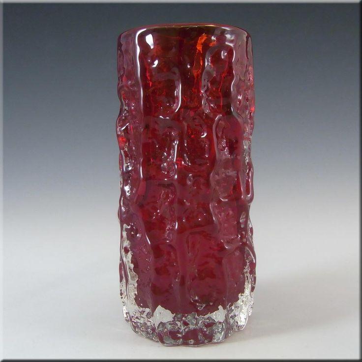 Whitefriars/Baxter Ruby Red Glass Textured Bark Vase 9689 #1 - £60.00