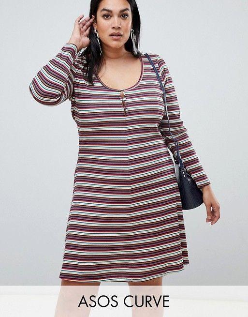 6d64ccfa7a DESIGN Curve stripe rib mini skater dress with button front ...