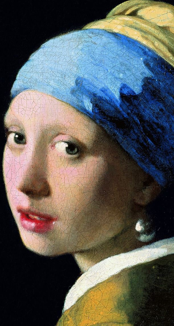 Girl with a Pearl Earring detail, 1665, Mauritshuis, The Hague, Johannes Vermeer
