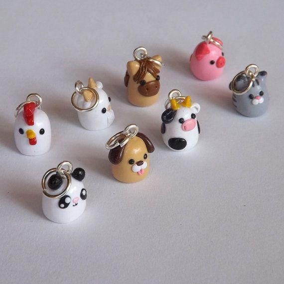 Polymer Clay Tier bezaubert - Miniatur-Clay-Tiere - Polymer Clay Charms - Ihre Wahl süß Kawaii Tier-Zubehör