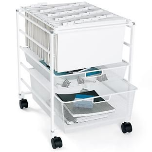Our elfa Mesh File Cart offers room for hanging file folders (sold separately), and has two Mesh Drawers below for storage.  The fine weave of the mesh prevents small items from falling through.  Choose from either letter-size (with Narrow Mesh Drawers) or legal-size (with Medium Mesh Drawers).