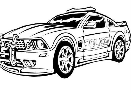 police car printable coloring image
