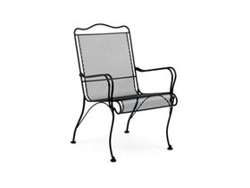 Woodard Tucson Wrought Iron Metal High Back Arm Dining Chair | 1G0001, 22.5W x 25.5D x 35H inches - $159.38