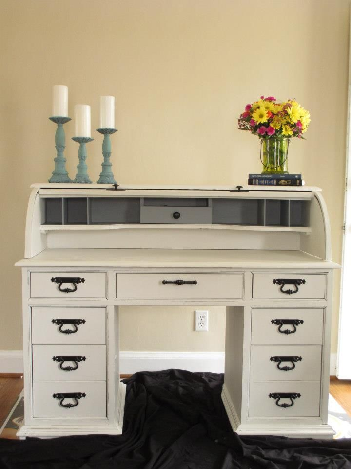 Made New Home Furnishings: Rough looking roll top desk turned gorgeous! AS Pure White with Pewter and custom mixed teal by Valspar. Hardware sprayed black. https://www.facebook.com/MadeNewHomeFurnishings https://madenewhomefurnishings.wordpress.com/