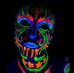 Black Light Reactive Neon Makeup   This would be cool for Mason's birthday party.