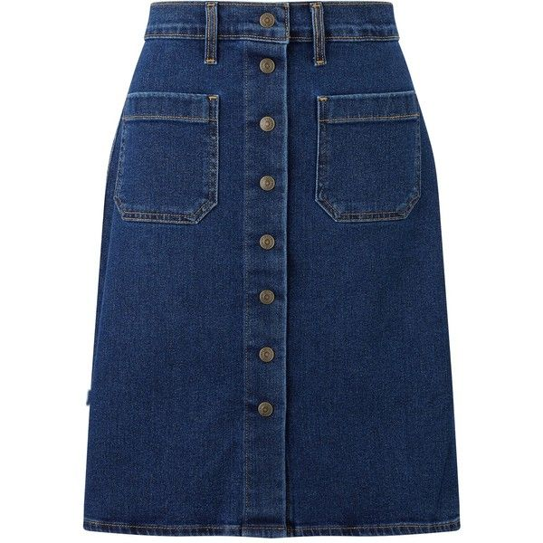 Levi's Button Through Denim Skirt, Indigo Velvet (525 HRK) ❤ liked on Polyvore featuring skirts, knee length denim skirt, denim skirt, a line button skirt, blue knee length skirt and button-front denim skirts