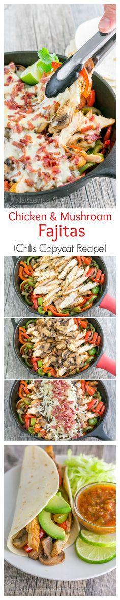 Chicken and Mushroom Fajitas - A copycat recipe for Chilis Restaurant Fajitas. So GOOD! @natashaskitchen