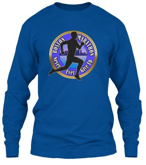 Boston Marathon Strong Runners T Shirts Royal Long Sleeve T-Shirt Front
