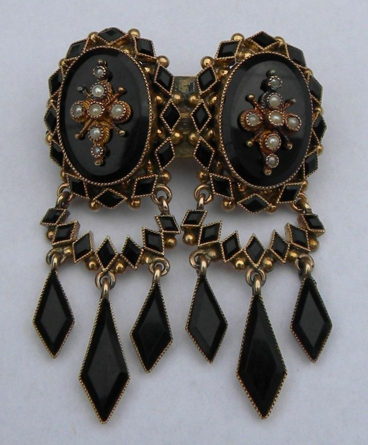 Antique Victorian 14K Gold Black Onyx Pearl Mourning Brooch Earrings