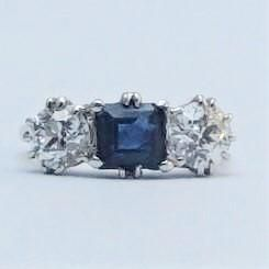 Art Deco Sapphire and Diamond Platinum Three Stone Ring.