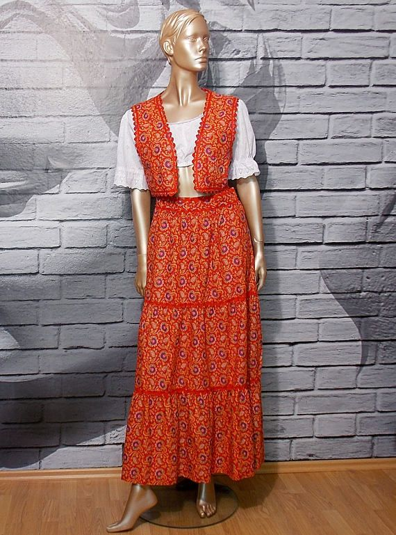 Red maxi skirt with crop vest prairie tiered peasant skirt