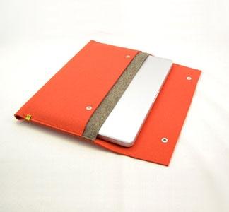 orange felt sleeve