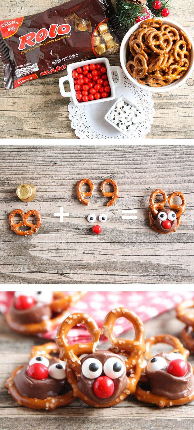 Rolo Pretzel Reindeer | 19 Amazingly Cute Ideas For Christmas Treats That You Can Actually Make                                                                                                                                                                                 More
