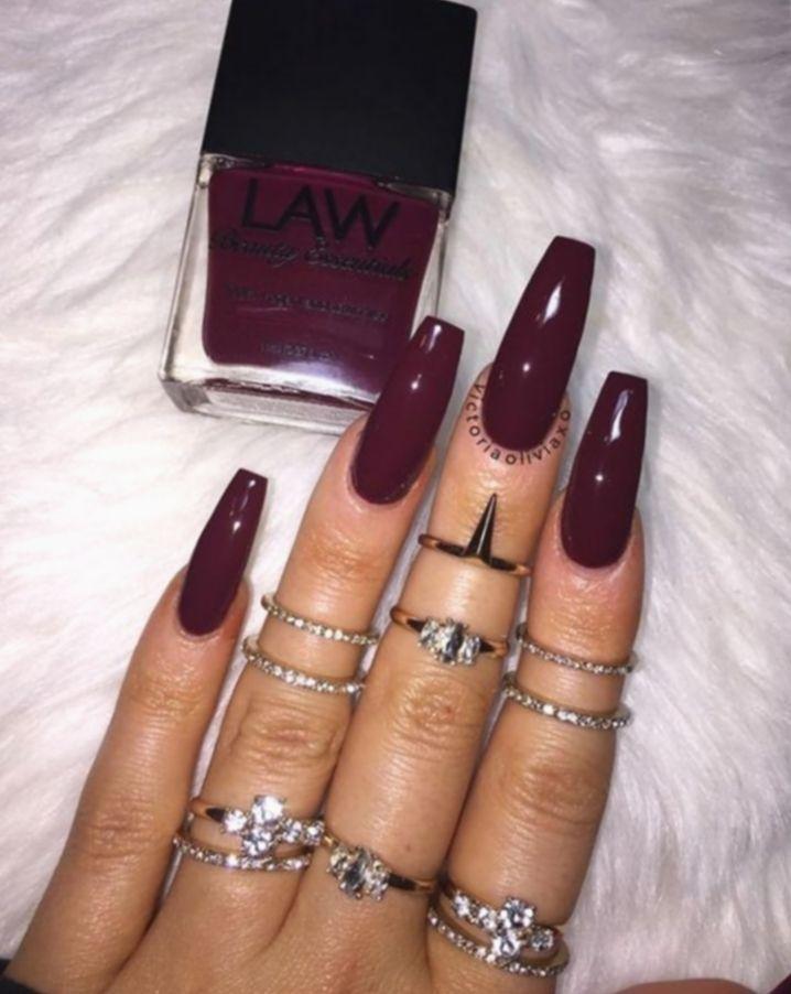Nail Gel Red Long Nailsofinstagram Naildesigns Nailsonfleek Maroon Acrylic Nails Burgundy Nails Red Acrylic Nails