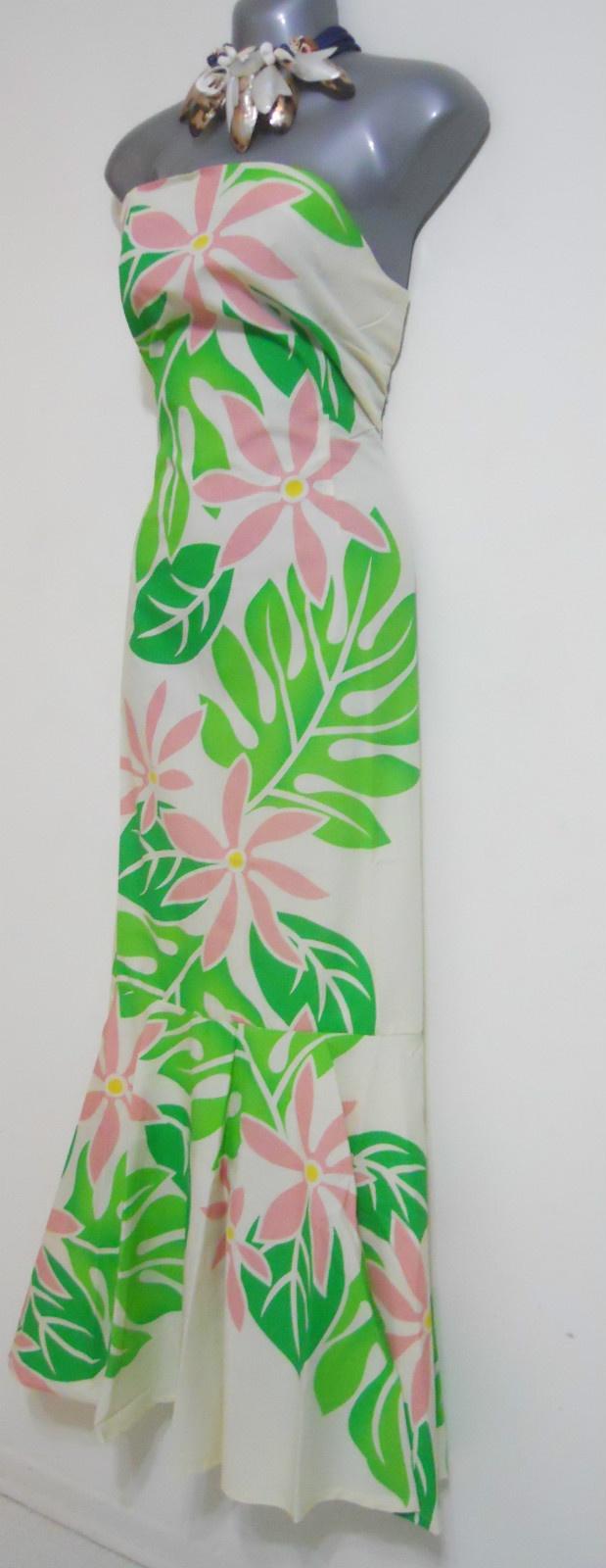 Hawaiian Muumuu Dresses Strapless Mermaid Sz M Cream Green Hawaii Floral Moo Muu | eBay