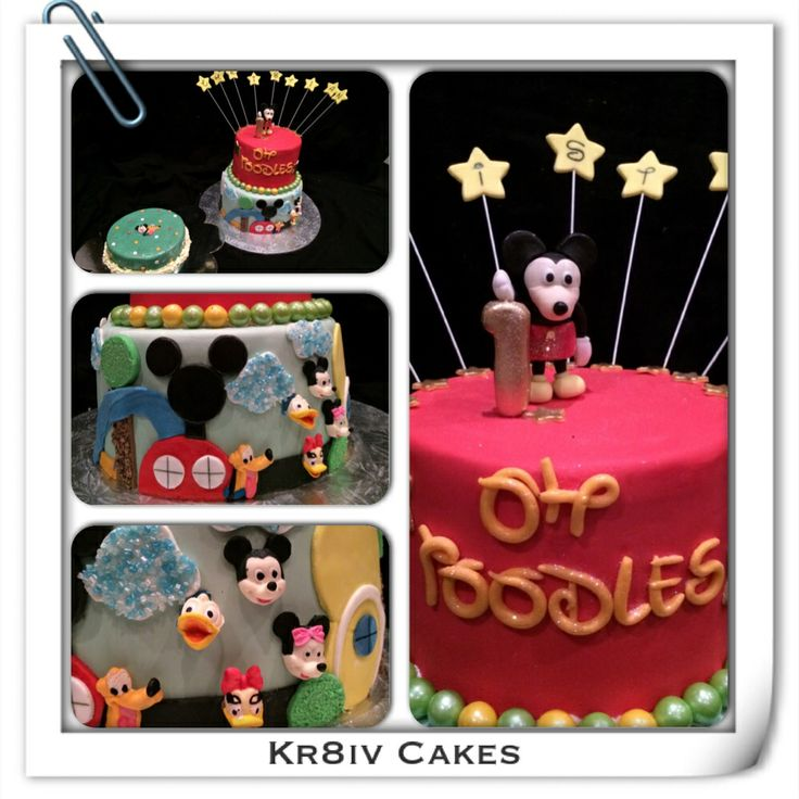 Red velvet and chocolate Mickey Mouse birthday cake for 1 year old