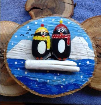 Penguins at sea.
