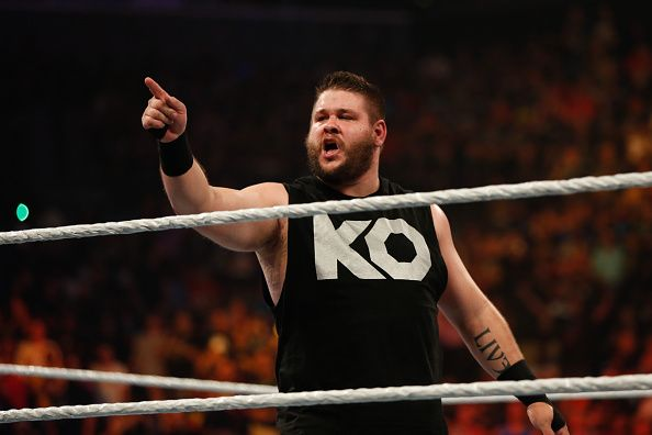 Kevin Owens celebrates his victory over Cesaro at the WWE SummerSlam 2015 at Barclays Center of Brooklyn on August 23 2015 in New York City
