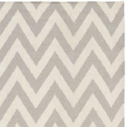 @Overstock - Moroccan inspired design and dense hand-woven wool pile highlight this handmade dhurrie rug. This floor rug has a grey background and displays stunning panel colors of ivory.http://www.overstock.com/Home-Garden/Chevron-Dhurrie-Grey-Ivory-Wool-Rug-5-x-8/6830704/product.html?CID=214117 $189.99
