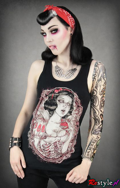 black tank top with dead, rotten Snow White   CLOTHING \ T-shirts   Restyle.pl