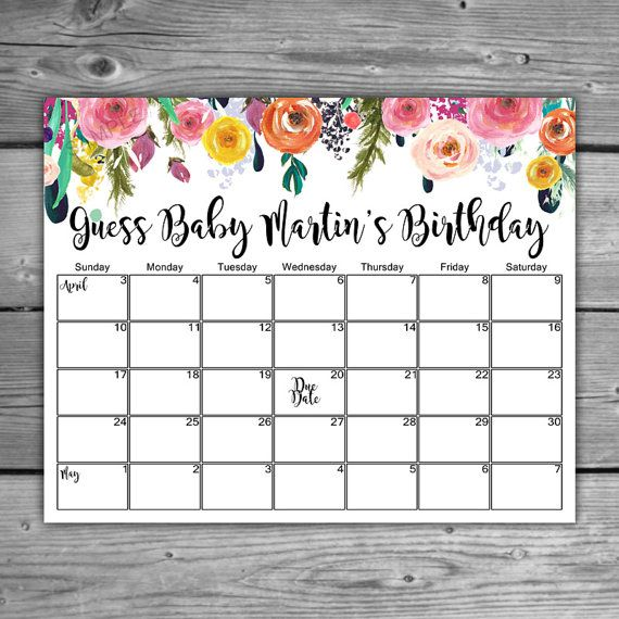 ★ Floral Due Date Calendar.  ★ Digital File.  ★ Size 8 x 10 inches.  ★ More Items In This Theme: http://etsy.me/29xxJuS ____________________________________________________ Invite your guests to make their predictions on babys due date with this personalized calendar. There are five weeks on the calendar which includes the week of babys due date and the 2 weeks before and after.  Please note that this is a DIGITAL FILE. It will be emailed to you as:  A PDF file containing an 8...