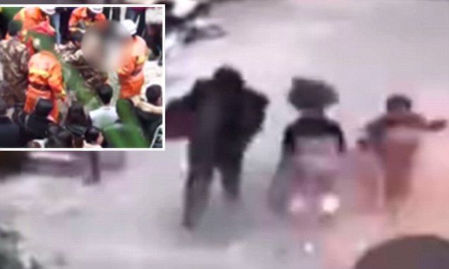Chinese girl hit by firecracker blast, hurled down sewer to her death    http://www.dailymail.co.uk/news/article-2975535/Horrifying-moment-Chinese-girl-hit-firecracker-explosion-hurled-sewer-death.html