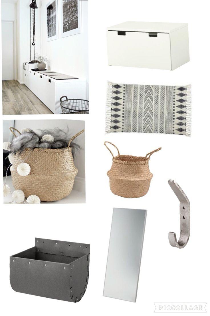 Köpa till hall: stuva IKEA, spegel IKEA, afroart-korgar, house doctor-matta och förvaring från granit