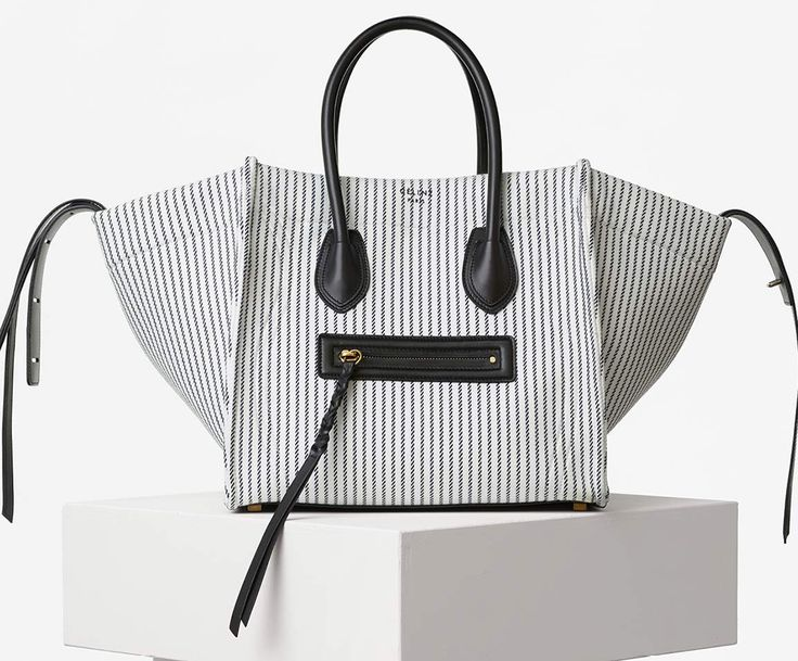 Celine Phantom Luggage Tote White Striped Canvas | white + beige ...