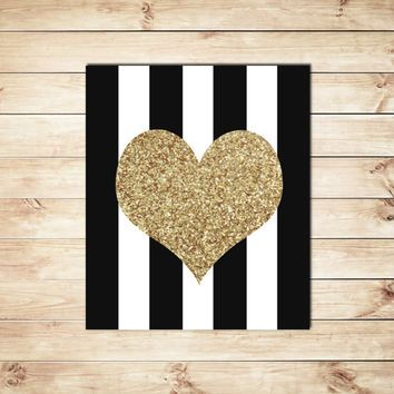 Black and White Stripe, Gold Glitter Heart, Heart Print, Heart Design, Gold Glitter Print, Dorm Decor, Home Decor, Nursery Print