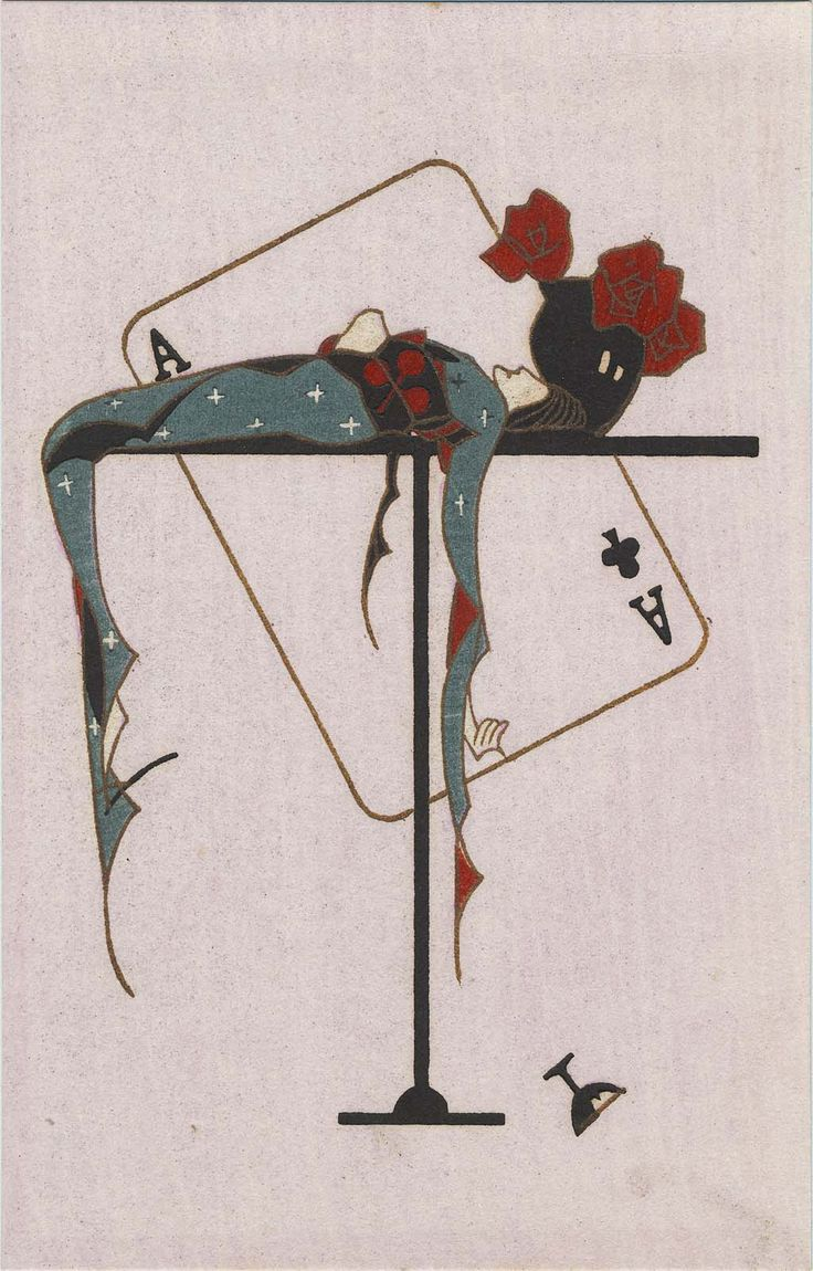 * Ace of Clubs from the series Youth (Kanojo no seishun 彼女の青春 (Her youth))  Japanese Taisho-early Showa era Kobayashi Kaichi 小林かいち (1896-1968) Publisher Sakuraiya