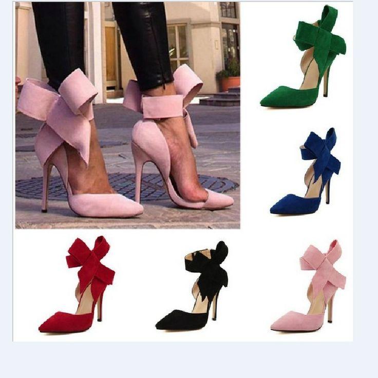 ... Plus la taille chaussures femmes Big Bow Tie pompes 2015 papillon  pointu Stiletto chaussures femme talons hauts chaussures De mariage Zapatos  De Mujer, ...