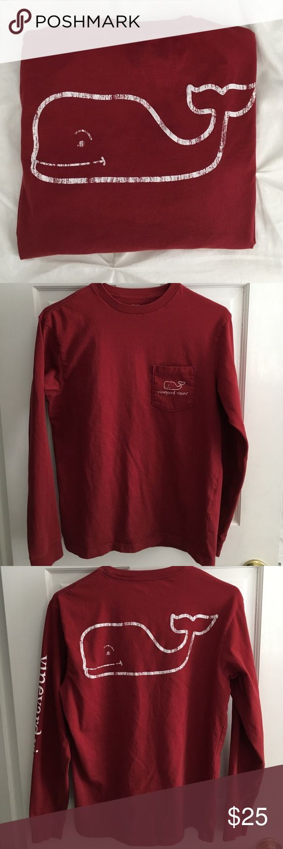 Maroon long sleeve vineyard vines t-shirt Maroon long sleeve vintage whale t-shirt from vineyard vines, men's size XS, very soft and comfy! Has whale logo on the back and the chest pocket, vineyard vines writing down the left sleeve Vineyard Vines Shirts Tees - Long Sleeve