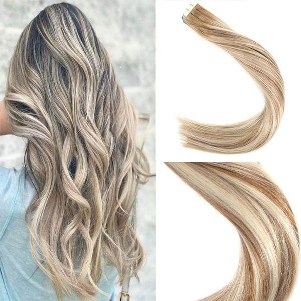 Tape In Balayage Brown Highlighted Bleach Blonde Human Hair