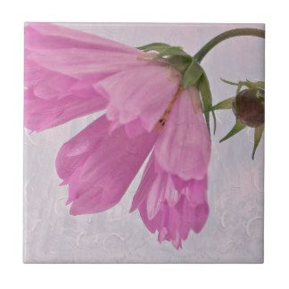 Pink Textured Cosmo Flower Small Square Tile