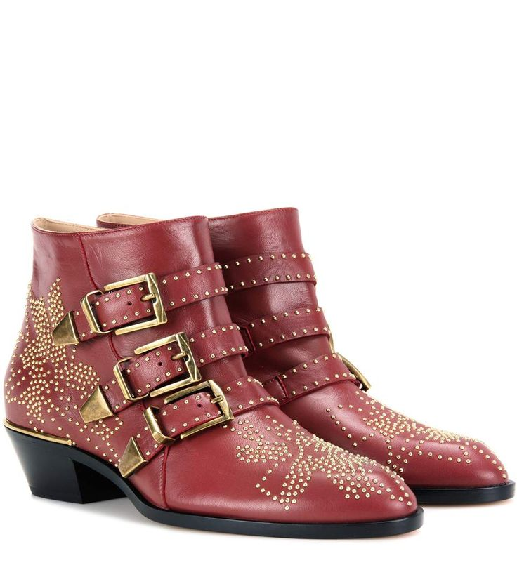 Susanna dark red studded leather ankle boots