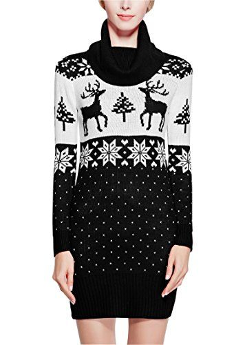 Women Christmas Sweater, V28 Ugly Cowl Neck Vintage Knit Deer Xmas Jumper Dress(Black L) - http://www.darrenblogs.com/2017/01/women-christmas-sweater-v28-ugly-cowl-neck-vintage-knit-deer-xmas-jumper-dressblack-l/