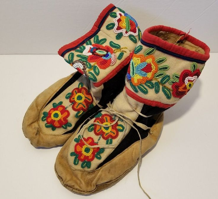 Antique Native American Hand Beaded Mukluks Moccasins Early 1900s Northern Boots